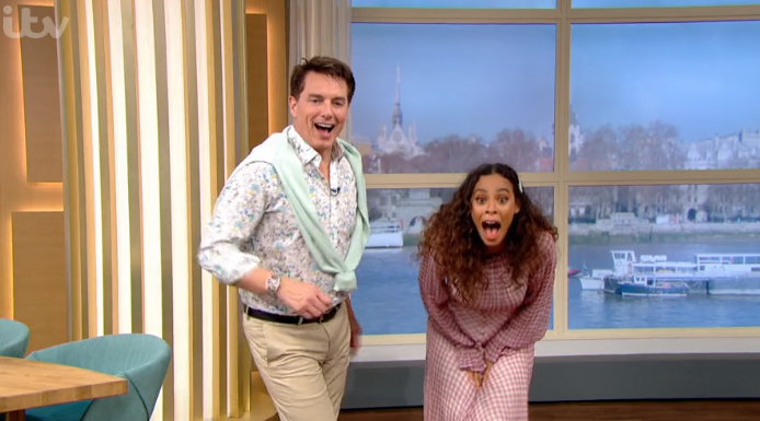 Rochelle Humes almost flashes knickers live on This Morning