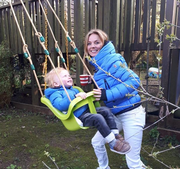 Geri Horner and son