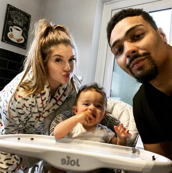 Jordan Banjo, girlfriend Naomi and son Cassius
