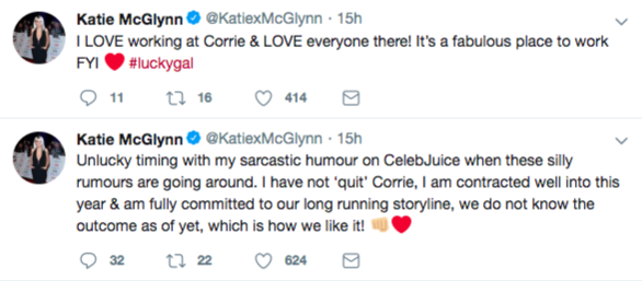 Katie McGlynn DENIES quitting Coronation Street and slams 'silly rumours'