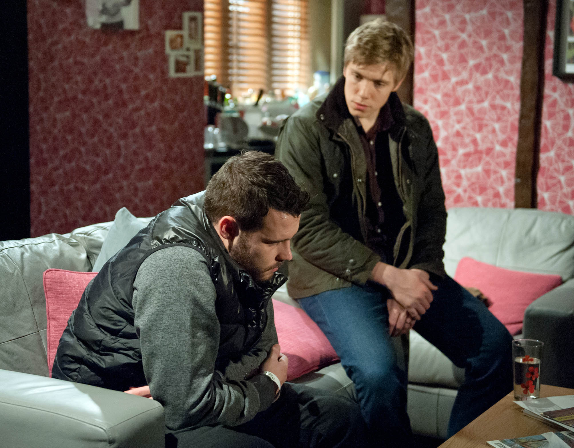 Editorial use only Mandatory Credit: Photo by ITV/REX/Shutterstock (8965215an) 7405 Thursday 21 January 2016 - 2nd ep Robert Sugden, as played by Ryan Hawley, feels out of his depth as Aaron Livesy, as played by Danny Miller, continues to confide in him. Robert urges Aaron to open up to his mum but he refuses and Aaron's relieved when Robert agrees not to tell anyone promising him he's not alone. 'Emmerdale' TV Series - Jan 2016