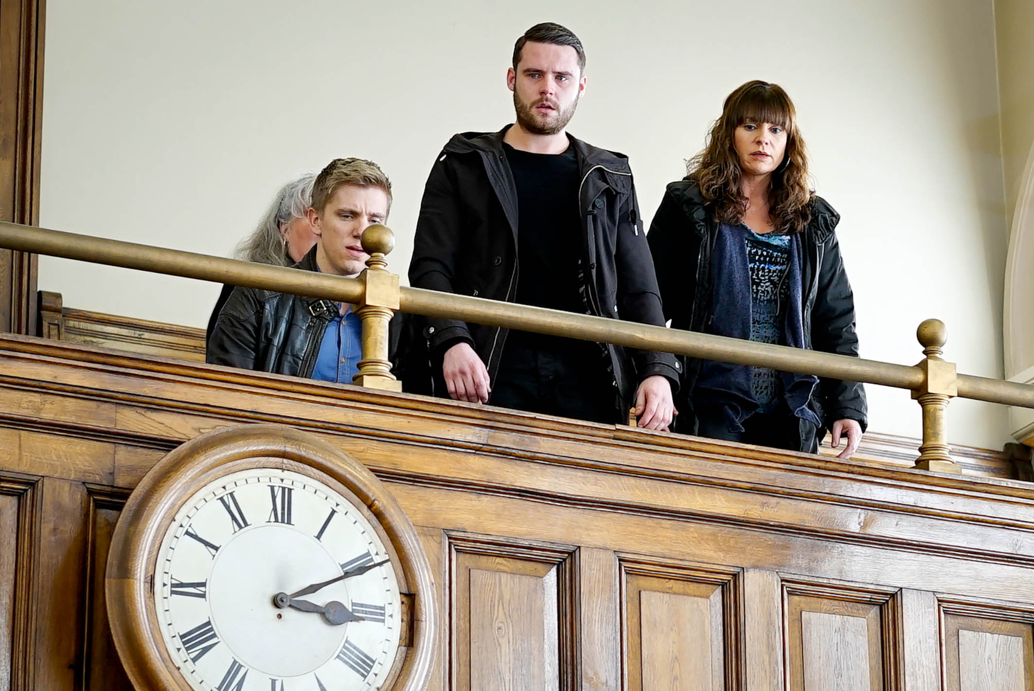 Editorial use only Mandatory Credit: Photo by ITV/REX/Shutterstock (8965273ce) Ep 7451 Wednesday 16 March 2016 Robert Sugden, as played by Ryan Hawley, turns up at court and Aaron Livesy, as played Danny Miller, is unable to hide his happiness, though his face falls when he sees Gordon, as played by Gary Mavers, behaving like he's seriously ill for the court's benefit. Gordon strikes a pitiful figure and pretends to collapse. Aaron can't believe it but will his father's scheming help Gordon's case? 'Emmerdale' TV Series - Mar 2016