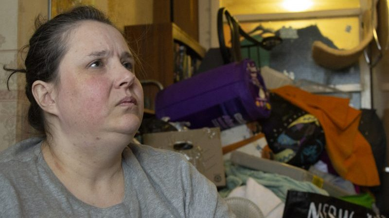 Extreme hoarder reveals flat filled with maggots, cat poo and bottles of urine
