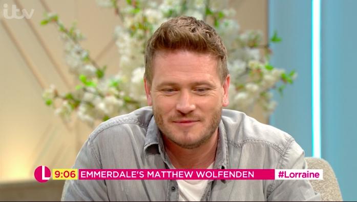 Emmerdale's Matthew Wolfenden has limelight stolen by cute son Buster on Lorraine