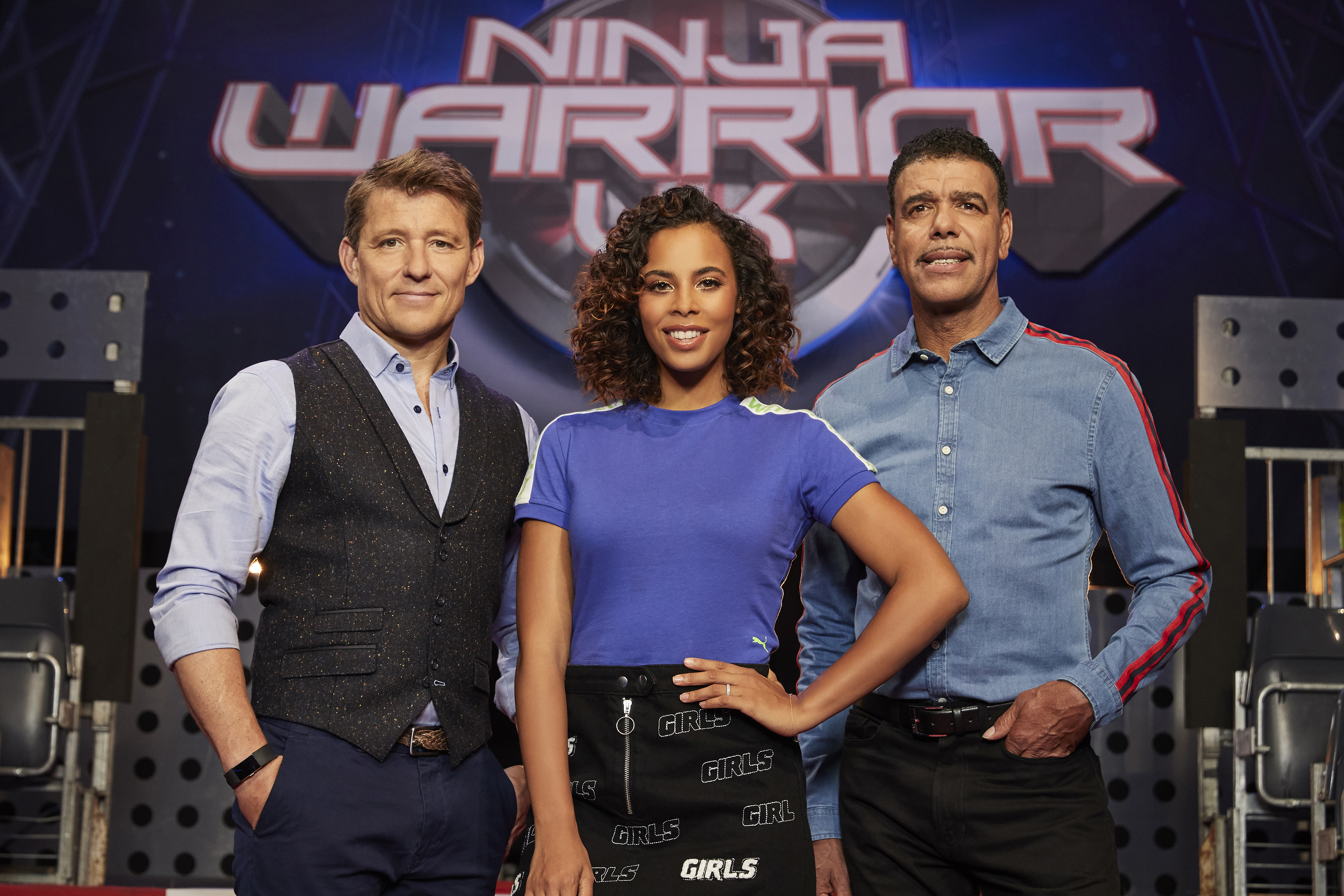 From Potato Ninja Warrior UK: SR5 on ITV Pictured: Ben Shephard, Rochelle Humes and Chris Kamara. This photograph is (C) ITV Plc and can only be reproduced for editorial purposes directly in connection with the programme or event mentioned above. Once made available by ITV plc Picture Desk, this photograph can be reproduced once only up until the transmission [TX] date and no reproduction fee will be charged. Any subsequent usage may incur a fee. This photograph must not be manipulated [excluding basic cropping] in a manner which alters the visual appearance of the person photographed deemed detrimental or inappropriate by ITV plc Picture Desk. This photograph must not be syndicated to any other company, publication or website, or permanently archived, without the express written permission of ITV Plc Picture Desk. Full Terms and conditions are available on the website www.itv.com/presscentre/itvpictures For further information please contact: iwona.karbowska@itv.com / 0207 157 3043