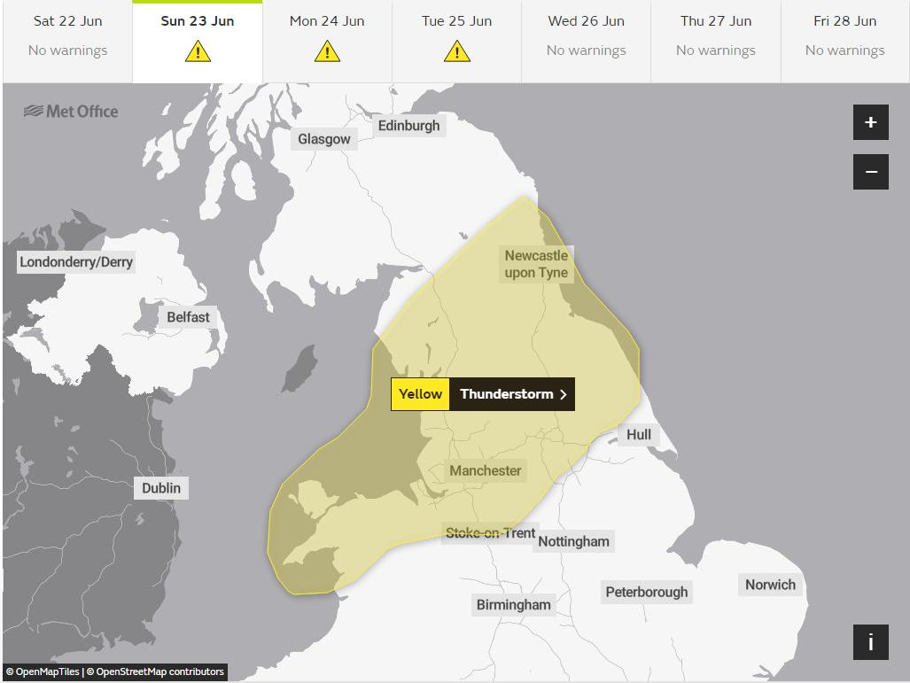 Warning as thunderstorms expected in Sussex