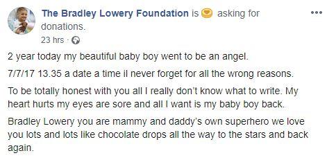 Bradley Lowery Foundation message