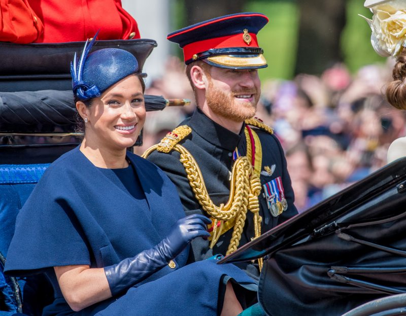 Meghan and Harry arriving at the Trooping the Colour celebrations