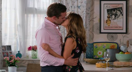 FROM ITV STRICT EMBARGO Print media - No Use Before Tuesday 9th July 2019 Online Media - No Use Before 0700hrs Tuesday 9th July 2019 Coronation Street - Ep 9825/6 Friday 19th July 2019 Armed with a bottle of wine and an apology, Ali Neeson [JAMES BURROWS] heads to Maria Connor's [SAMIA LONGCHAMBON] flat and the attraction is soon evident. Having finished the bottle, Ali leans in for a kiss and Maria kisses him back Picture contact - David.crook@itv.com Photographer - Mark Bruce This photograph is (C) ITV Plc and can only be reproduced for editorial purposes directly in connection with the programme or event mentioned above, or ITV plc. Once made available by ITV plc Picture Desk, this photograph can be reproduced once only up until the transmission [TX] date and no reproduction fee will be charged. Any subsequent usage may incur a fee. This photograph must not be manipulated [excluding basic cropping] in a manner which alters the visual appearance of the person photographed deemed detrimental or inappropriate by ITV plc Picture Desk. This photograph must not be syndicated to any other company, publication or website, or permanently archived, without the express written permission of ITV Picture Desk. Full Terms and conditions are available on www.itv.com/presscentre/itvpictures/terms