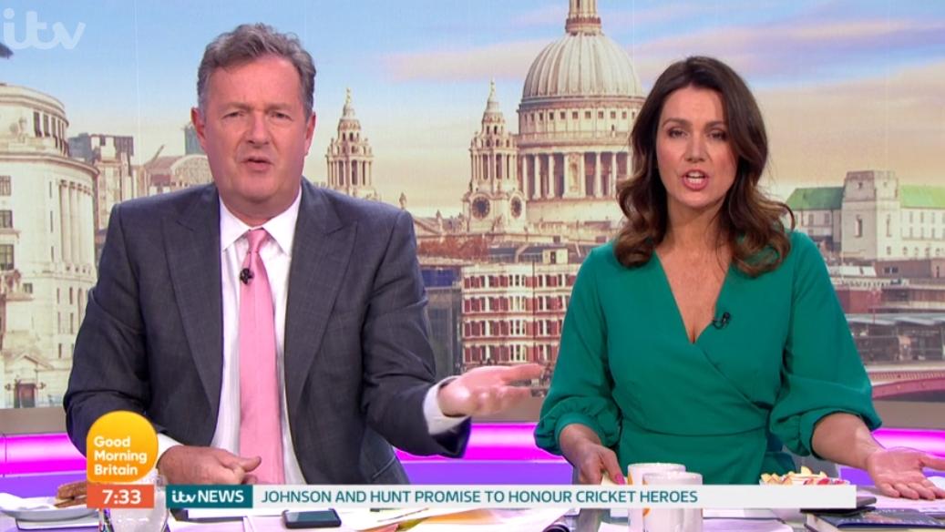 Piers Morgan tells off Susanna Reid for 'awkward' GMB blunder