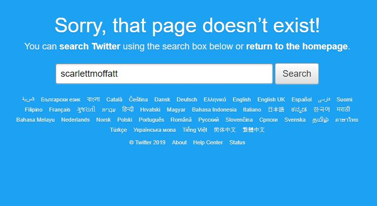 Scarlett Moffatt's deleted Twitter account