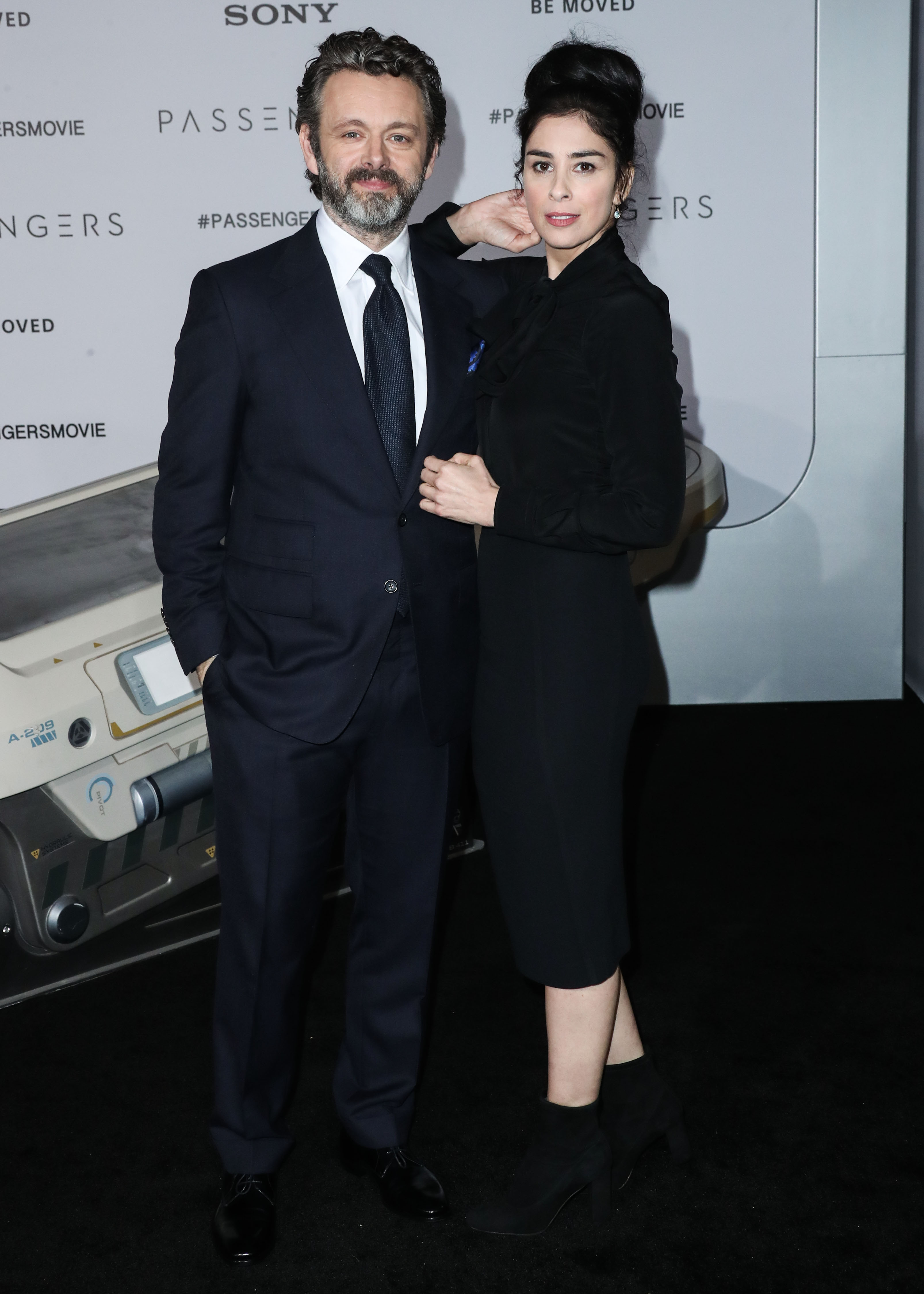 Michael Sheen and girlfriend Sarah Silverman arrive at the World Premiere Of Columbia Pictures 'Passengers'