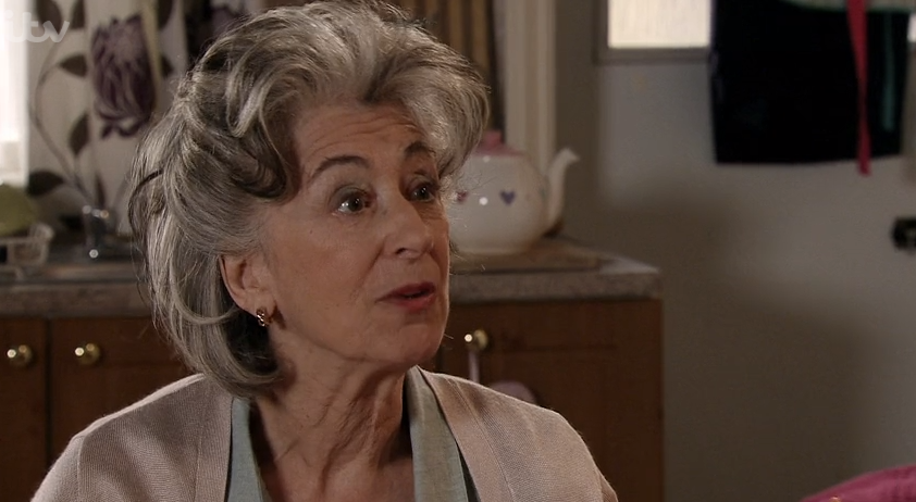 Coronation Street's Maureen Lipman shrieked after finding Rula Lenska naked in her kitchen