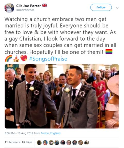 BBC's Songs of Praise features first same-sex marriage