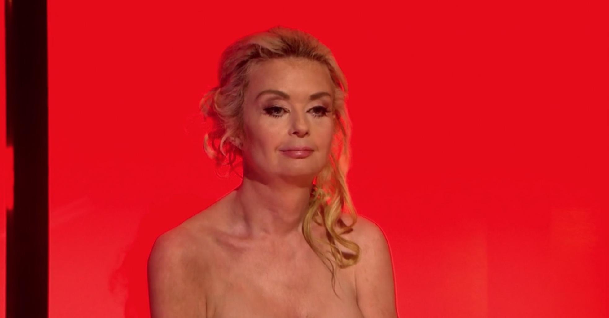 Lauren Harries peels off red lingerie to go topless in