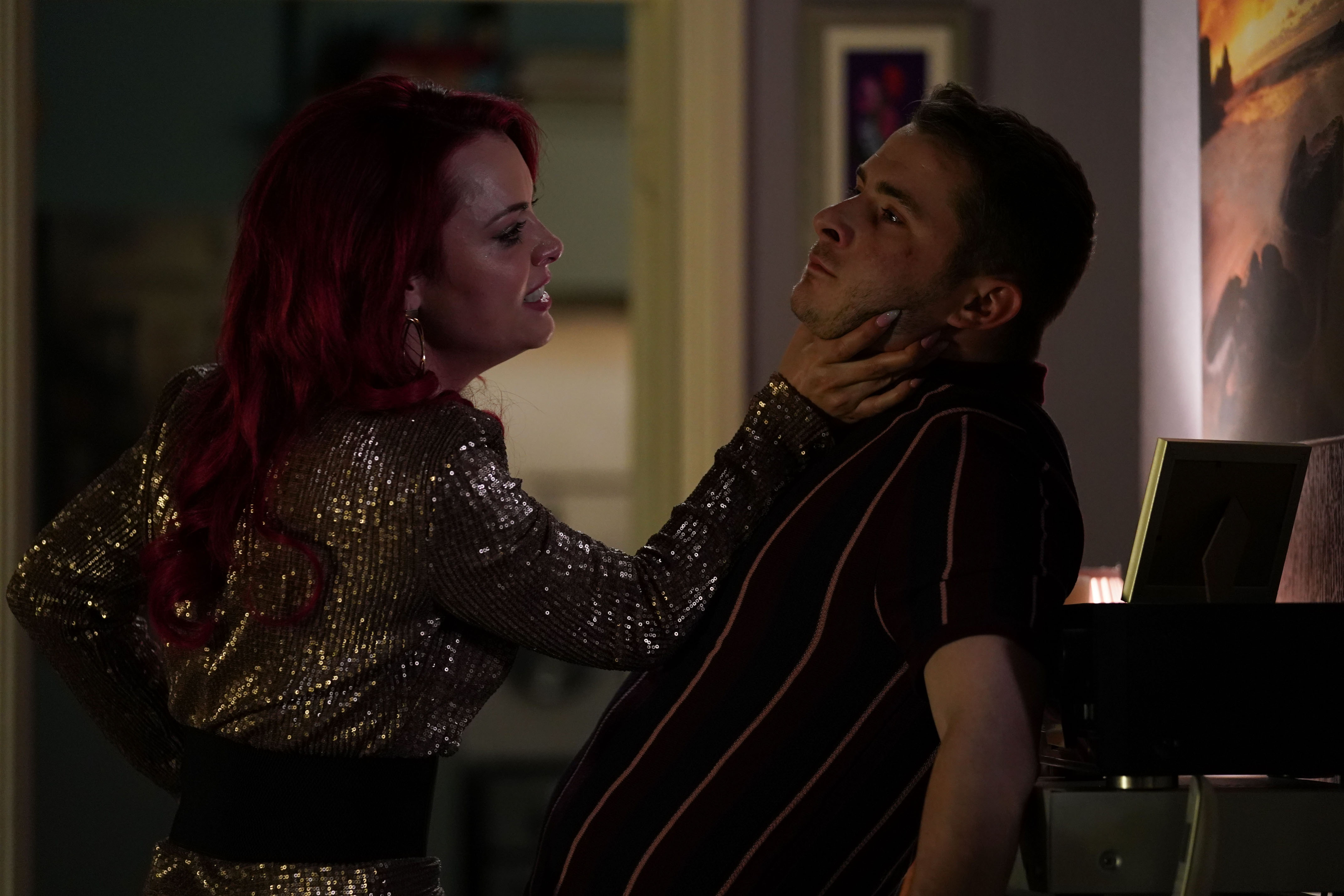 WARNING: Embargoed for publication until 00:00:01 on 24/08/2019 - Programme Name: EastEnders - July - September - 2019 - TX: 30/08/2019 - Episode: EastEnders - July - September - 2019 - 5981 (No. 5981) - Picture Shows: *NOT FOR USE PRE-TX WITHOUT PRIOR APPROVAL* Whitney confronts Ben Whitney Dean (SHONA MCGARTY), Ben Mitchell (MAX BOWDEN) - (C) BBC - Photographer: Jack Barnes
