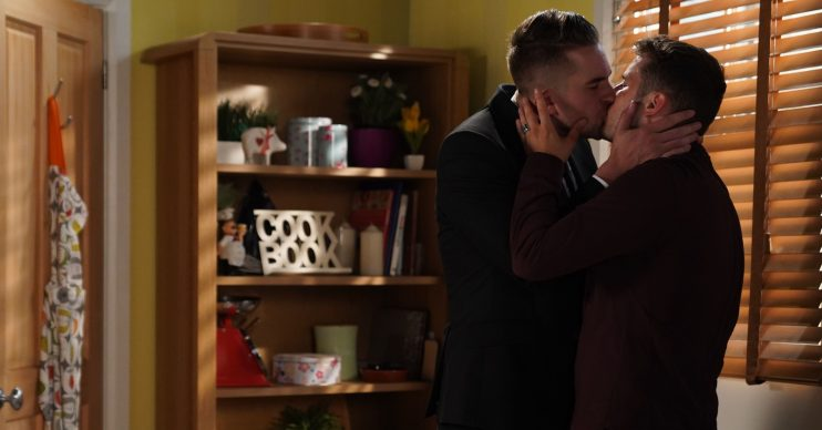 WARNING: Embargoed for publication until 00:00:01 on 28/09/2019 - Programme Name: EastEnders - July - September - 2019 - TX: 27/09/2019 - Episode: EastEnders - July - September - 2019 - 5997 (No. 5997) - Picture Shows: *NOT FOR USE PRE-TX WITHOUT PRIOR APPROVAL* Ben and Callum kiss Phil Mitchell (STEVE MCFADDEN), Callum Highway (TONY CLAY), Ben Mitchell (MAX BOWDEN) - (C) BBC - Photographer: Kieron McCarron