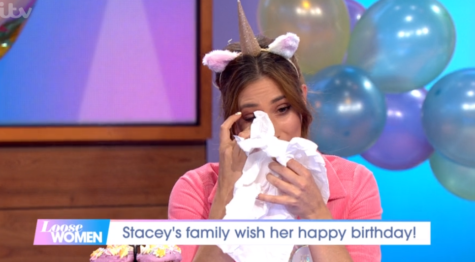 Stacey Solomon tears up as Loose Women surprise her with messages from family for 30th birthday