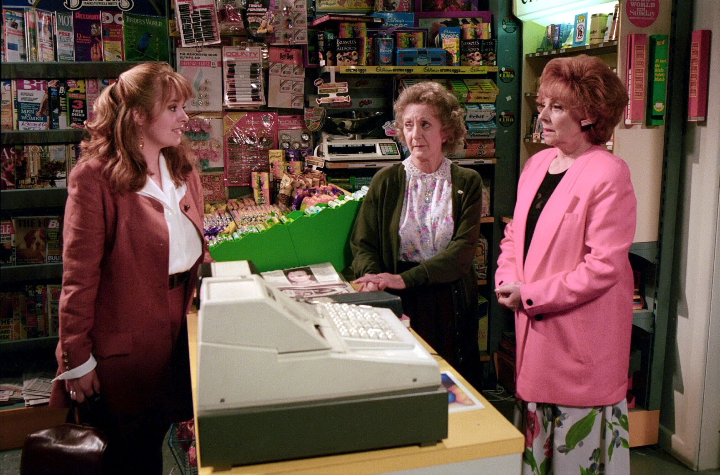 Editorial use only. Exclusive - Premium Rates Apply. Call your Account Manager for pricing. Mandatory Credit: Photo by ITV/Shutterstock (669486oo) 'Coronation Street' TV - 1993 - Jenny Bradley [Sally Ann Matthews] returns to the street, much to the surprise of Rita Sullivan [Barbara Knox] and Mavis Wilton [Thelma Barlow] ITV ARCHIVE