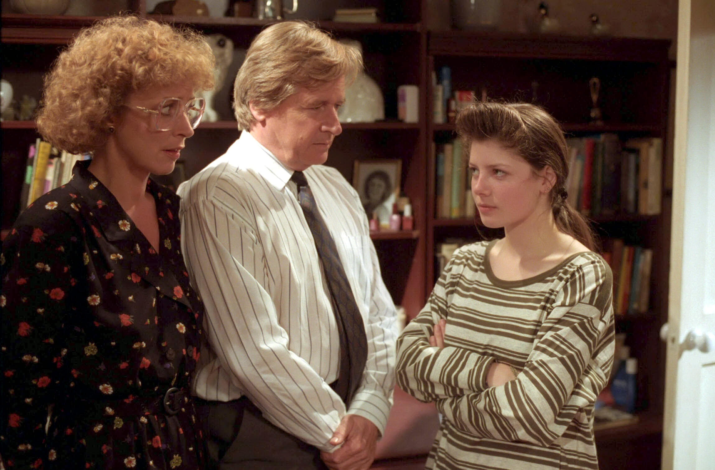 Editorial use only. Exclusive - Premium Rates Apply. Call your Account Manager for pricing. Mandatory Credit: Photo by ITV/Shutterstock (669486qt) 'Coronation Street' TV - 1993 - Deirdre Barlow [Anne Kirkbride], Ken Barlow [William Roache] and Tracy Barlow [Dawn Acton] ITV ARCHIVE