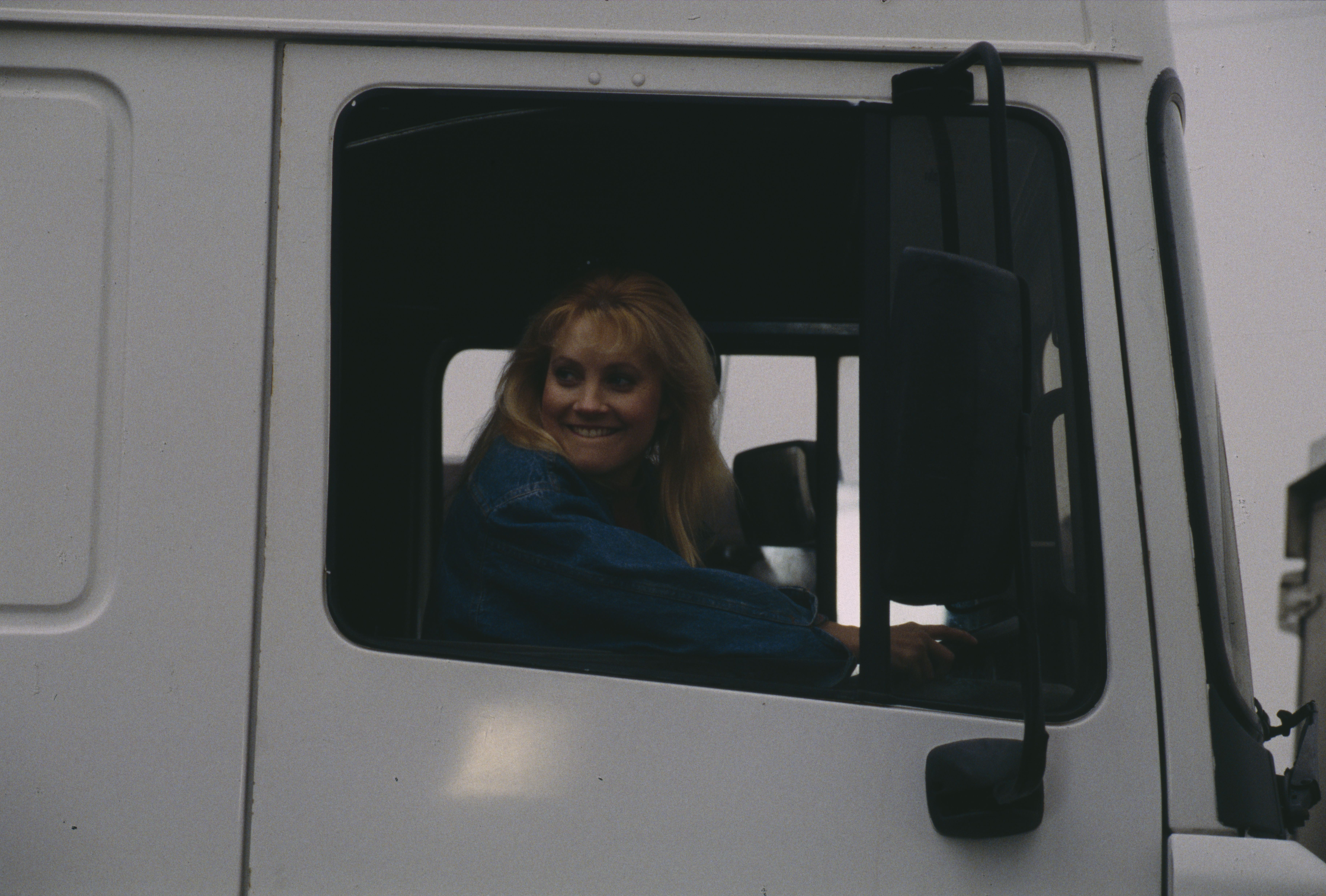 Editorial use only Mandatory Credit: Photo by ITV/Shutterstock (8042753a) Malandra Burrows (as Kathy Tate), as Kathy convinces Chris she can drive a HGV (Ep 1754 - 8th April 1993) 'Emmerdale' TV Series - 08 Apr 1993 Emmerdale Farm is a long-running British soap opera set in Emmerdale, a fictional village in the Yorkshire Dales. Created by Kevin Laffan, it first broadcast on 16 October 1972 and produced by ITV Yorkshire.