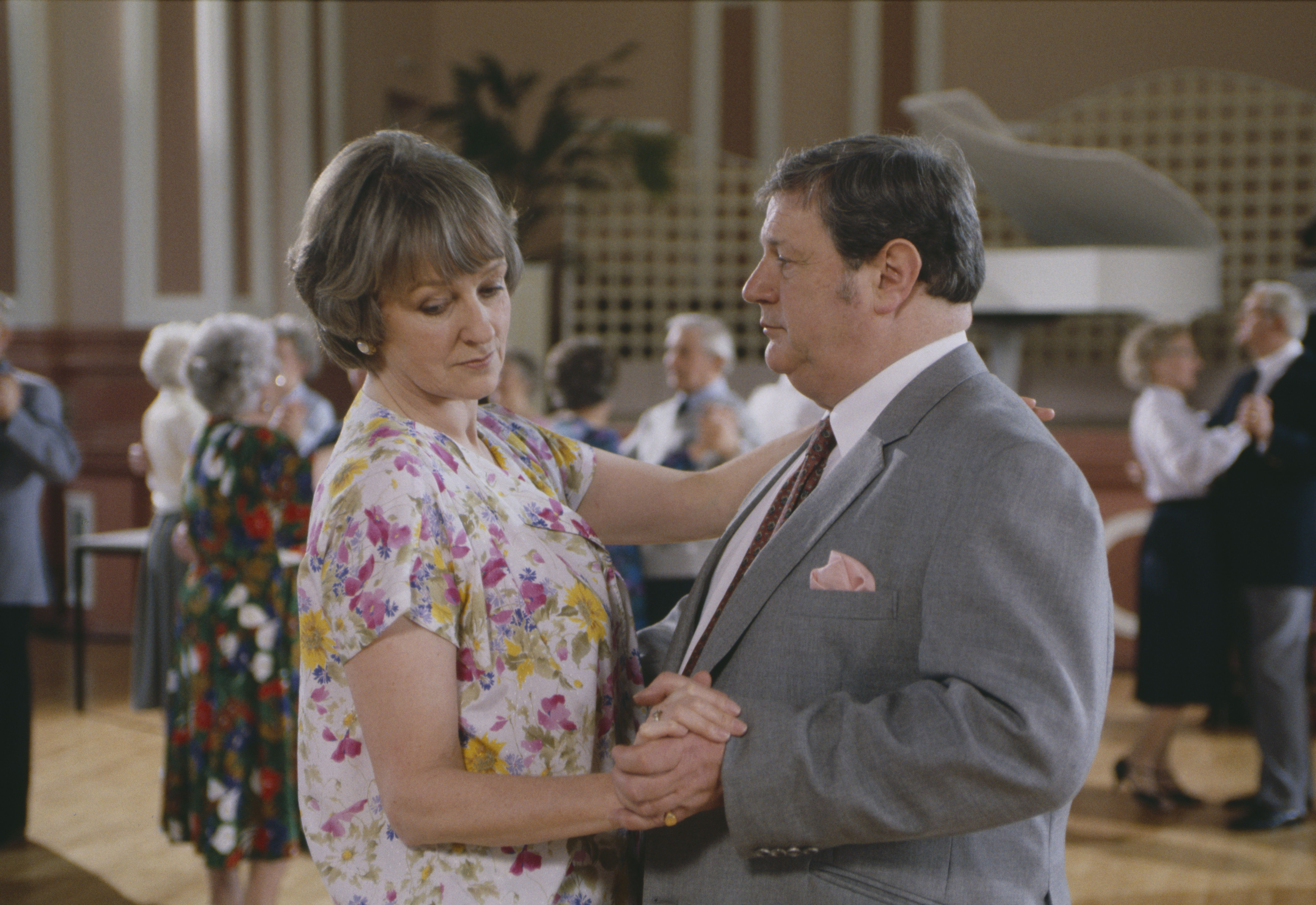 Editorial use only Mandatory Credit: Photo by ITV/Shutterstock (8081420u) Caroline Bates (as Diana Davies) and Richard Thorp (as Alan Turner) as Mrs Davies and Turner visit a tea dance (Ep 1762 - 6th May 1993) 'Emmerdale' TV Series - 06 May 1993 Emmerdale Farm is a long-running British soap opera set in Emmerdale, a fictional village in the Yorkshire Dales. Created by Kevin Laffan, it first broadcast on 16 October 1972 and produced by ITV Yorkshire.