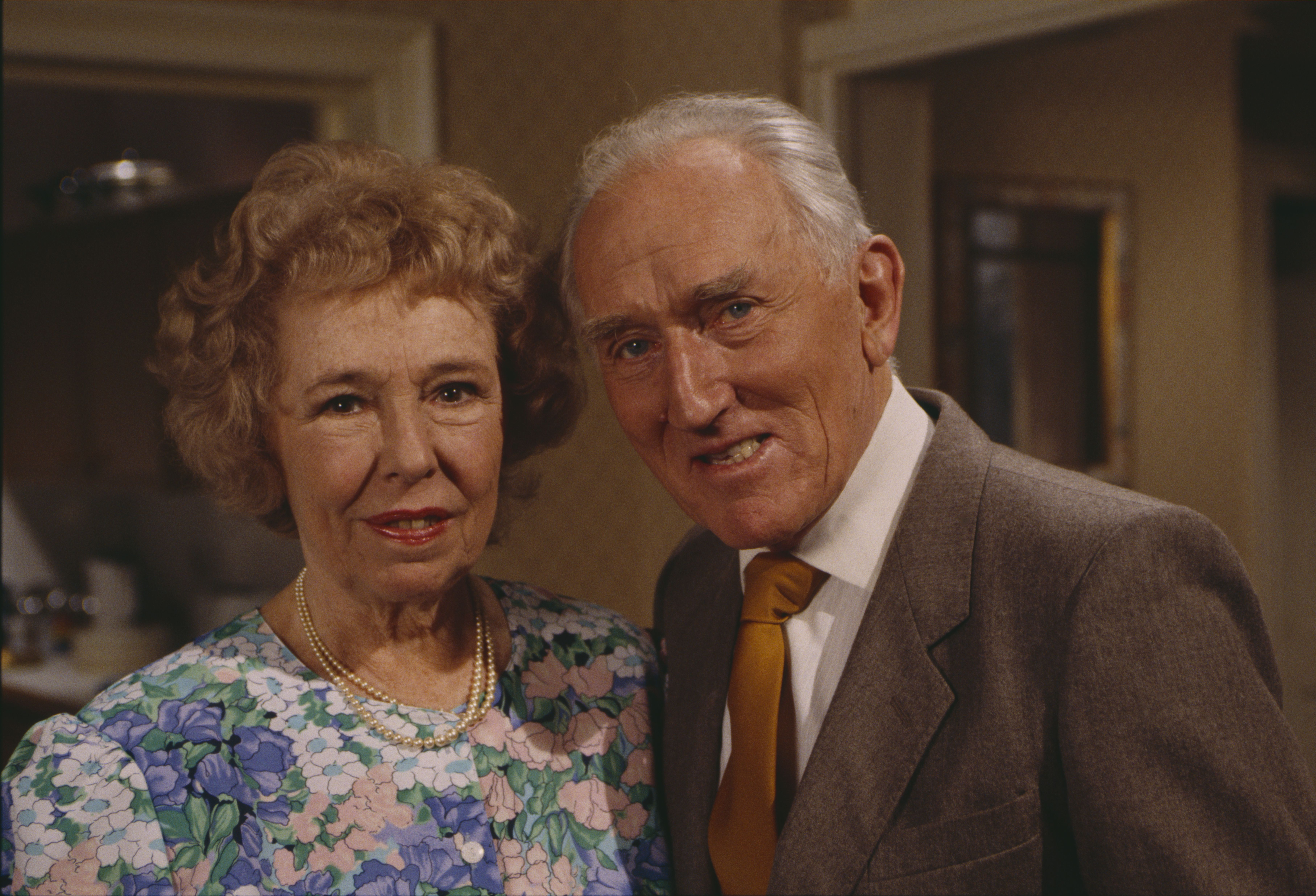Editorial use only Mandatory Credit: Photo by ITV/Shutterstock (8105620j) Sheila Mercier (as Annie Sugden) and Bernard Archard (as Leonard Kempinski) (Ep 1766 - 20th May 1993) 'Emmerdale' TV Series - 20 May 1993 Emmerdale Farm is a long-running British soap opera set in Emmerdale, a fictional village in the Yorkshire Dales. Created by Kevin Laffan, it first broadcast on 16 October 1972 and produced by ITV Yorkshire.