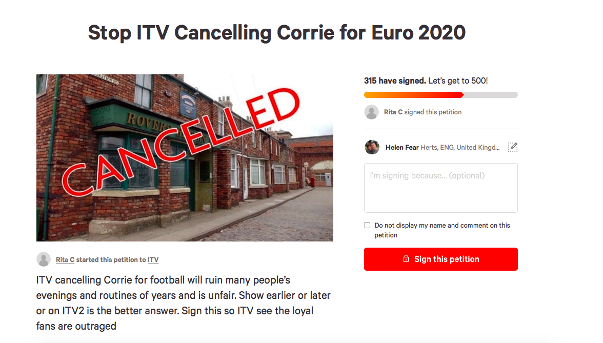Corrie petition football