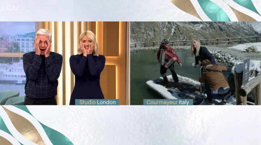 Phil and Holly apologise as Josie Gibson 'swears' after almost falling into icy lake