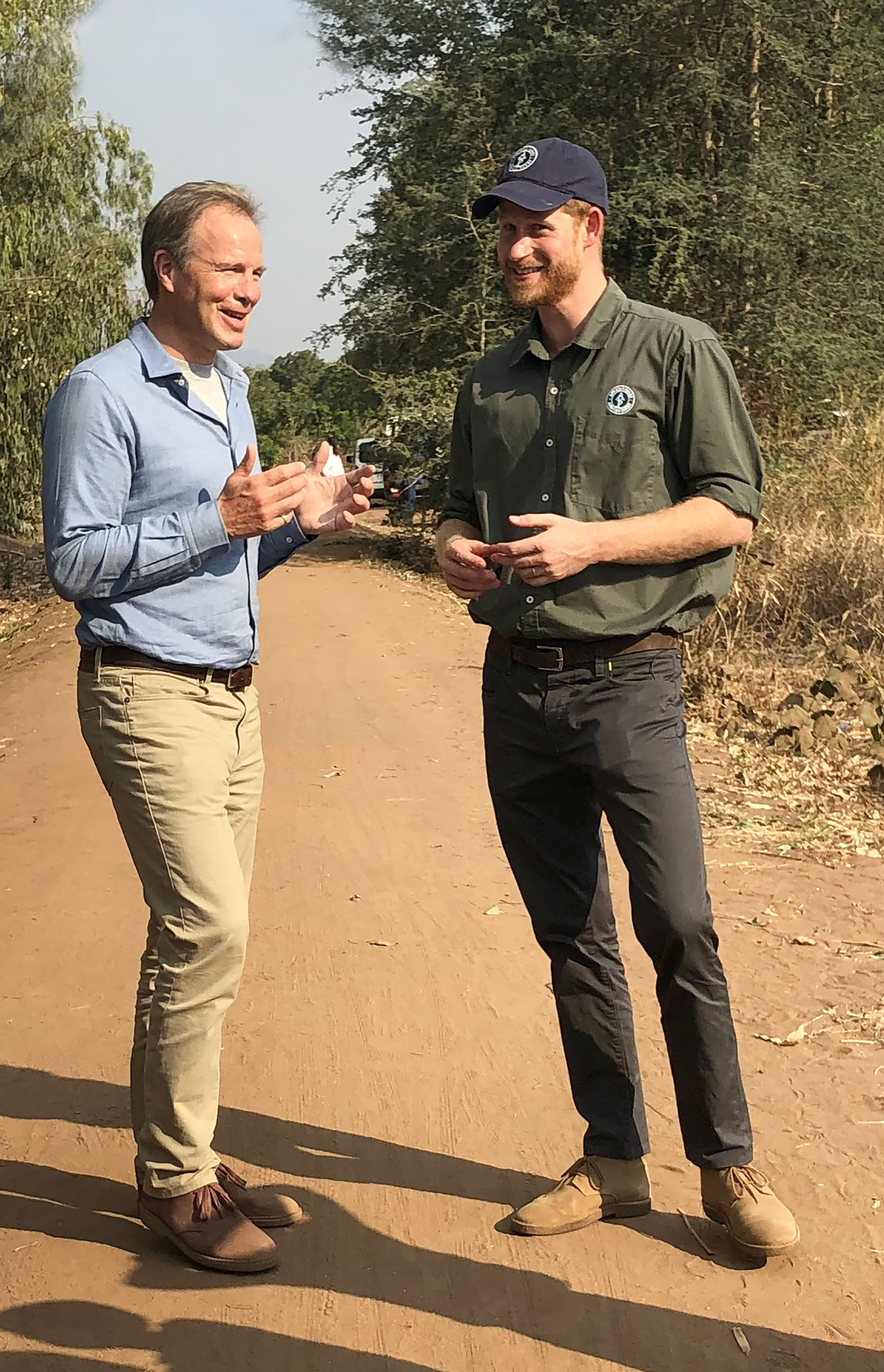 Tom Bradby and Prince Harry in South Africa