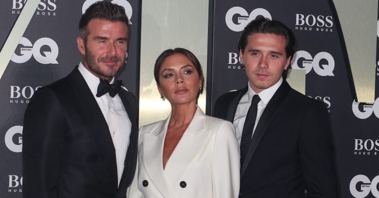David, Victoria and Brooklyn Beckham attend the GQ Men of the Year Awards in association with Hugo Boss at the Tate Modern in London Pictured: David Beckham,Victoria Beckham,Brooklyn Beckham Ref: SPL5112873 040919 NON-EXCLUSIVE Picture by: SplashNews.com Splash News and Pictures Los Angeles: 310-821-2666 New York: 212-619-2666 London: +44 (0)20 7644 7656 Berlin: +49 175 3764 166 photodesk@splashnews.com World Rights