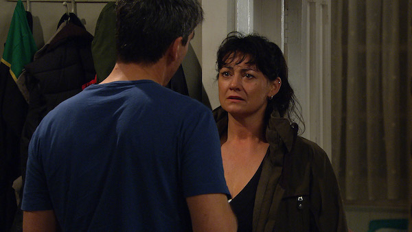 Moira finds out that Malone isn't the nice detective he makes himself out to be (Credit: ITV)