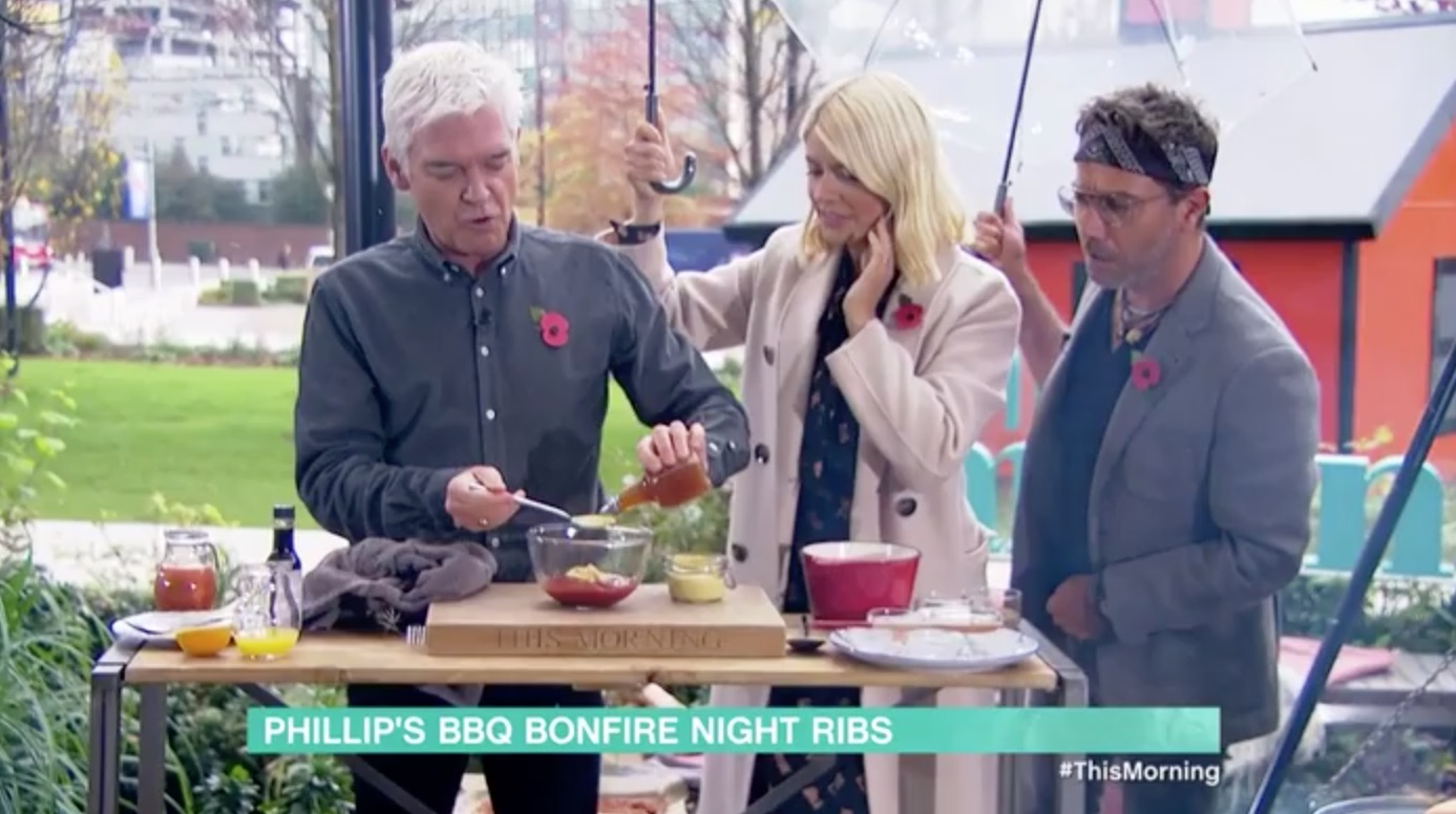 Phillip Schofield scolds Gino D'Acampo as he interrupts his cooking segment on This Morning