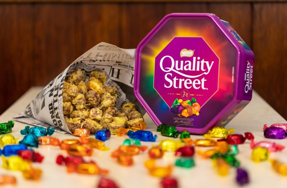Fish and chip shop selling battered Quality Street chocolates for Christmas