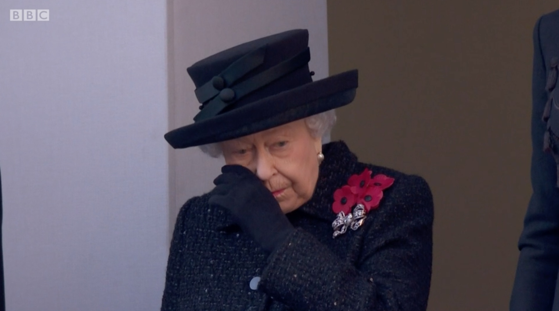 The Queen wipes away a tear during emotional Remembrance Sunday ceremony