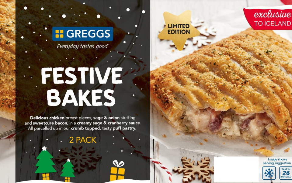 Iceland is selling Greggs' frozen Festive Bakes for just 83p each!