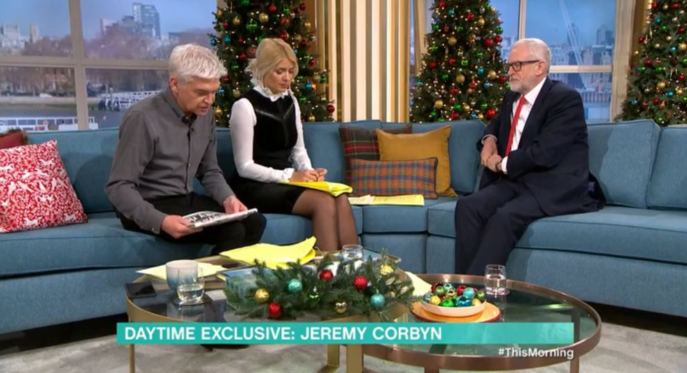 Phillip Schofield, Holly Willoughby and Jeremy Corbyn