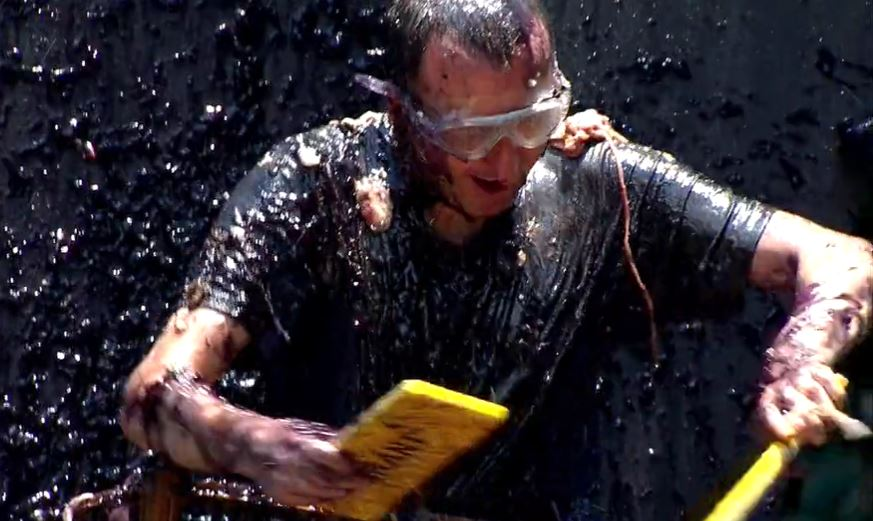 I'm A Celebrity: Andy Whyment showered with guts in tonight's disgusting trial