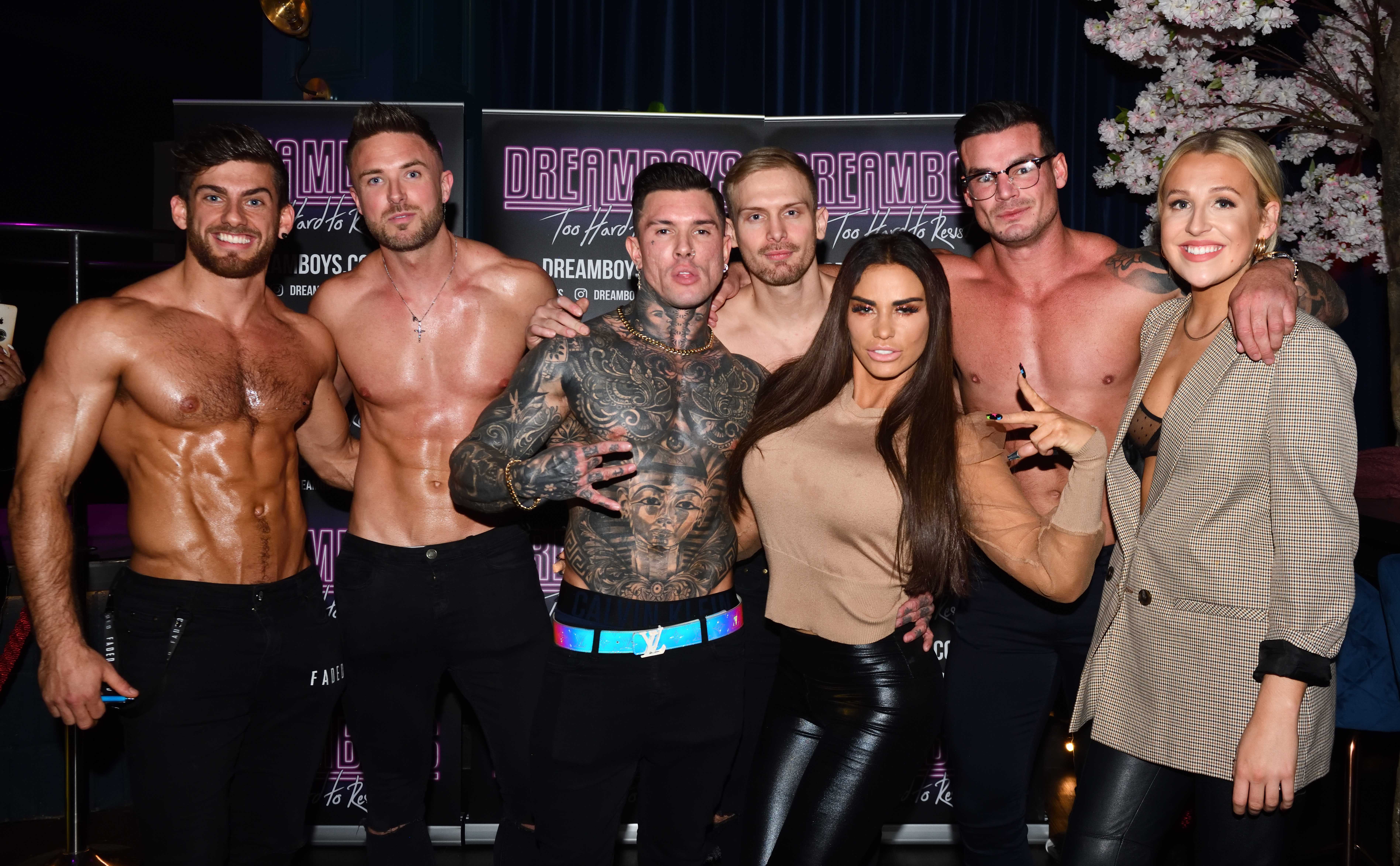 Katie Price gets lap dance as she judges Dreamboys auditions