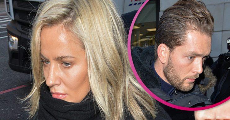 Caroline Flack and boyfriend Lewis Burton at court