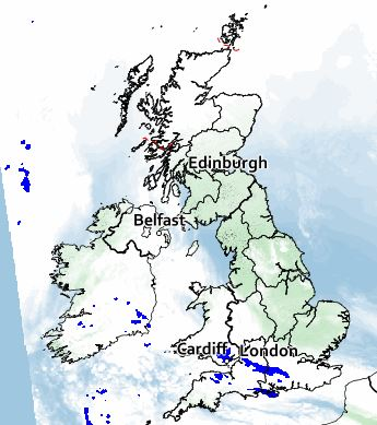 UK weather map - New Year's Eve at 6pm