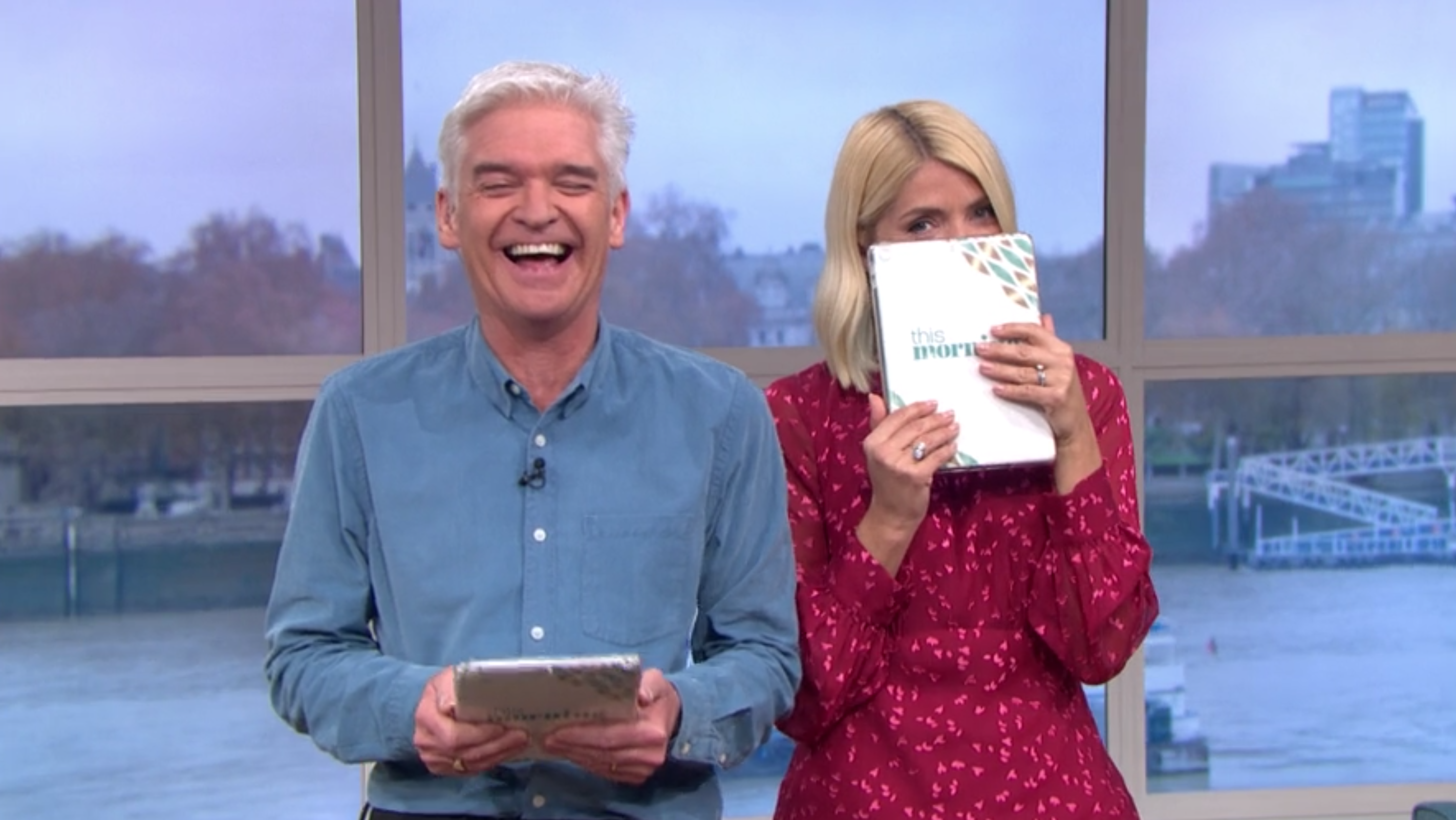 Phillip Schofield and Holly Willoughby unable to control their giggles at unintentionally rude children's drawings