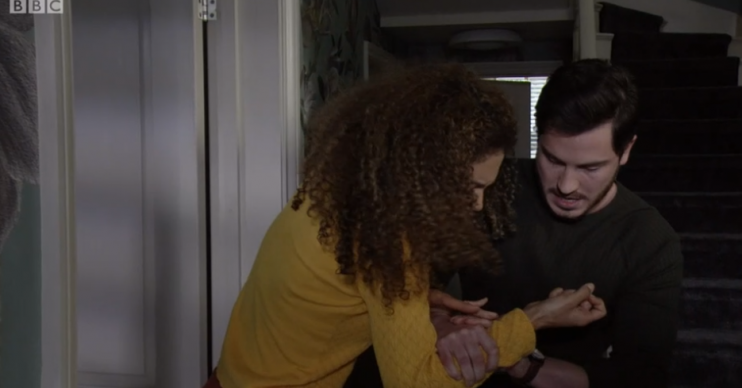 EastEndesr Gray breaks Chantelle's arm Credit: BBC