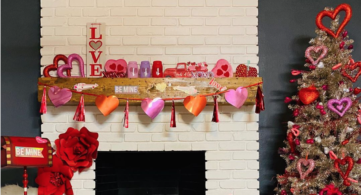 Love is in the air as romantic Brits redecorate their Christmas trees for Valentine's Day