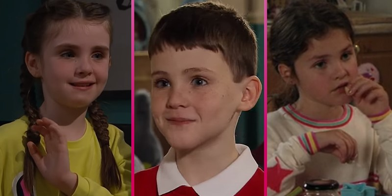 Emmerdale and Coronation Street stars the Flanagan siblings look overjoyed as they cuddle new family member