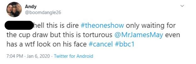 Tweet about The One Show