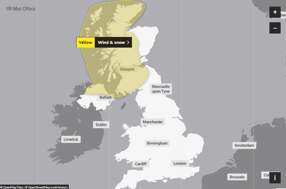 Met Office snow warning