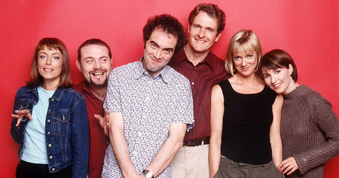 The Cold Feet cast in a throwback image from the 1990s