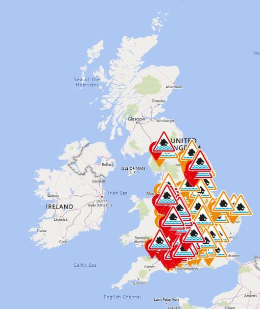 Flood warning map