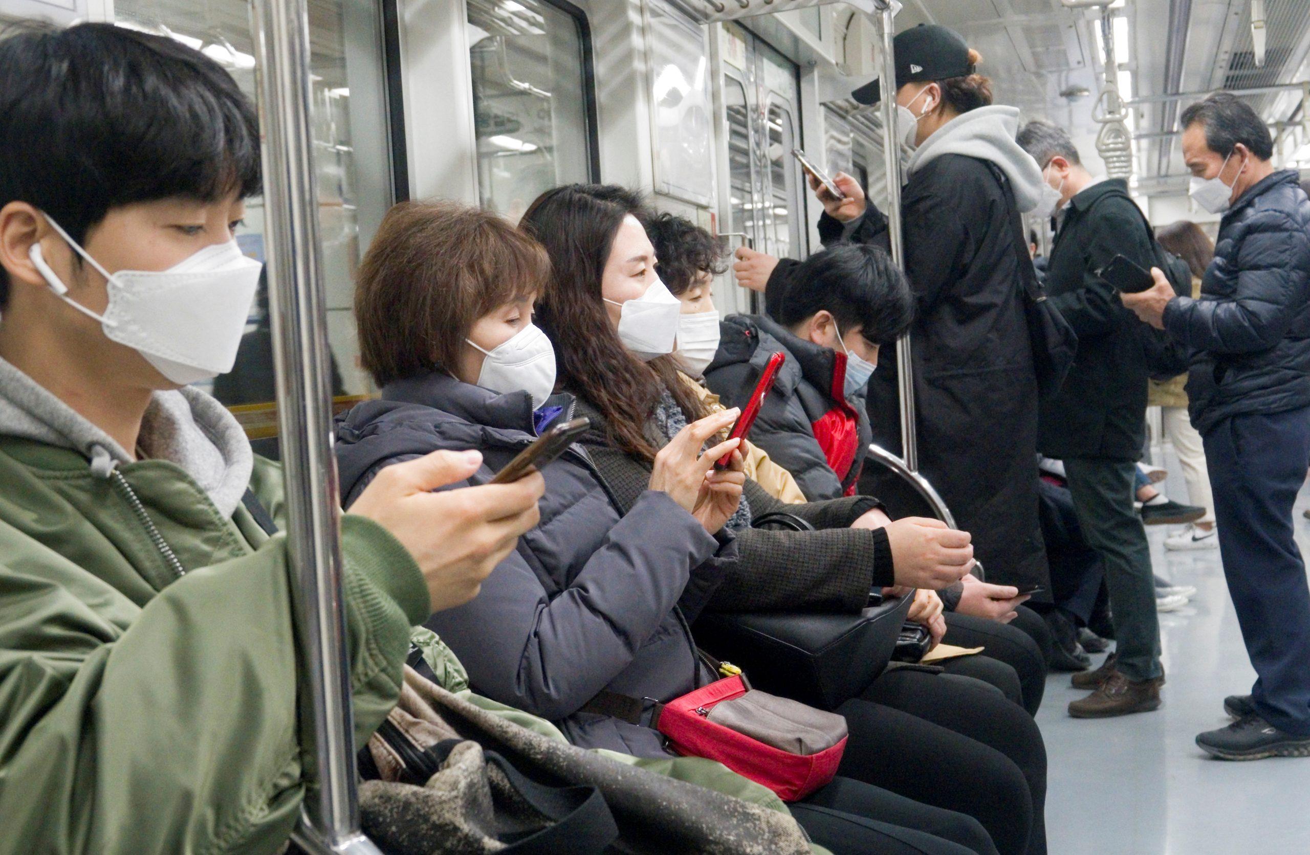 Coronavirus masks worn on a train